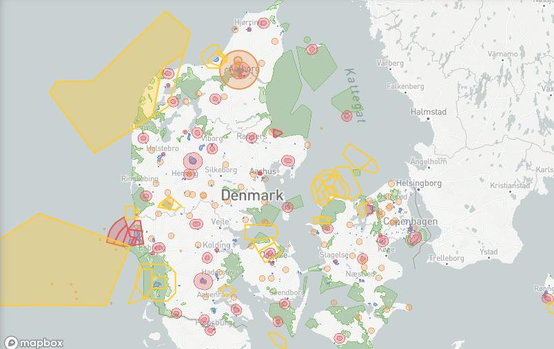 Dänische Landkarte mit Geo-Zonen