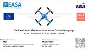 Der kleine EU-Drohnen-Führerschein / EU-Kompetenznachweis als Muster