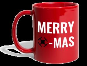 Super Geschenk: eine Tasse mit weihnachtlichem Drohnen-Motiv
